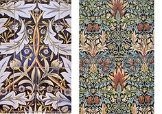 Left image: Tile design for Membland Hall. Right image: Snakeshead printed textile. Both designed by William Morris