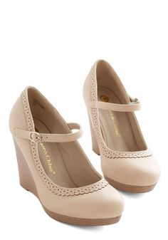ModCloth Darling Bon Anniversaire Wedge in Chai