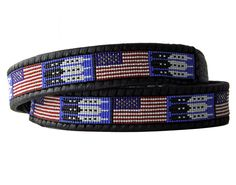 American Flag Beaded Belt - 40\ / 1 1/4\ tapered to 1\