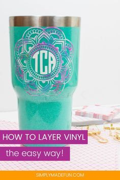 Excellent tutorial in layering vinyl for a multi colored craft project. I love this DIY monogrammed travel mug! Excellent tutorial in layering vinyl for a multi colored craft project. I love this DIY monogrammed travel mug! Silhouette Cameo Vinyl, Silhouette Cameo Tutorials, Silhouette Machine, Silhouette Projects, Silhouette Files, Silhouette Cutter, Silhouette Design, Vinyl Monogram, Stencils