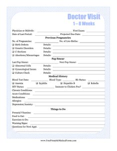 Decorated with baby blue stripes, this Week 1-8 pregnancy journal covers previous births, tests, and medical history. Free to download and print