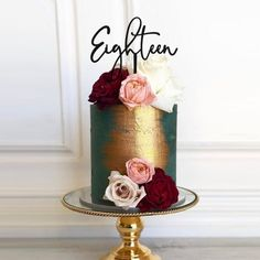 30th Birthday Cake For Women, 30th Birthday Cake Topper, Birthday Ideas, Beautiful Birthday Cakes, Beautiful Cakes, Modern Birthday Cakes, 18 Cake Topper, Custom Cake Toppers, 30 Cake