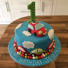 Boys 1st Birthday car cake