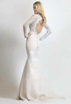 Keyhole lace back wedding dress by Christos Costarellos.