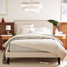 Low Nailhead Upholstered Headboard + Narrow Leg Bed Frame- Full, Linen Weave, Natural
