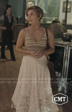 Scarlett's beige knitted top and white midi skirt on Nashville.  Outfit Details: https://wornontv.net/76123/ #Nashville