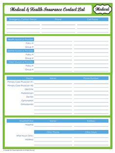 31 Days of Home Management Binder Printables: #11 Medical & Health Insurance Contacts