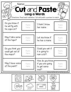 Cut and paste with LONG VOWELS and simple sentences!