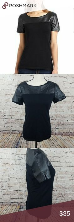"""Saks Fifth Avenue Leather Shirt Black Label Condition- Good  Size- Medium  Measurements- 17"""" pit to pit 25"""" Long  Material- 54% Nylon 25% Rayon 21% Modal  💛Like 🖒 what you 👀 but not the 💲make me an reasonable offer. Don't be shy 😄💚 Saks Fifth Avenue Black Label Tops"""