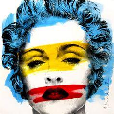 "Urban Street Art - Trendy Holiday GIfts: Original Mr. Brainwash ""Madonna""."