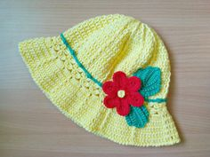 Yellow crochet cotton sun hat Yellow cotton little girls suns