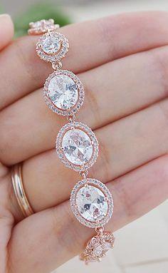 Lux Cubic Zirconia Bridal Bracelet from EarringsNation Rose Gold Weddings
