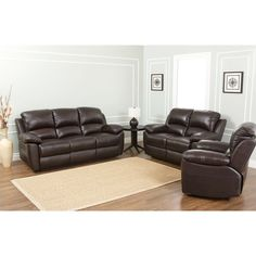 The Abbyson Living Westwood 3 Piece Top Grain Leather Reclining Set Is  Durable, Soft