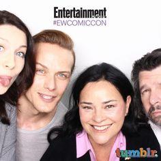 "Comic-Con '15: EW's Celebrity GIF Guide, Day 2 | Caitriona Balfe, Sam Heughan, author Diana Gabaldon, ""executive producer/writer Ronald D. Moore, 'Outlander' | EW.com"