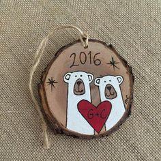 Personalized polar bear ornament wood Christmas ornament