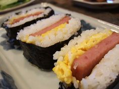 Spam musubi with eggs.. I hade this in Hawaii and I love it!