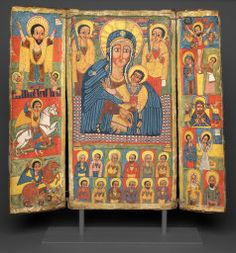 Central Ethiopia, Triptych Icon with Central Image of the Virgin and Child