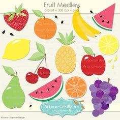 Fruit Digital Clipart, Apple Clipart, Grapes Clip art, Watermelon Clipart, Cherries Clip art, Banana Clipart