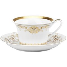 Rosenthal Meets Versace Medusa Gala Teacup featuring polyvore, home, kitchen & dining, drinkware, filler, kitchen, food, tea party, rosenthal tea cup and rosenthal