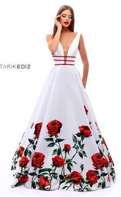 Вечернее платье на выпускной с принтом в виде роз - Tarik Ediz 50275