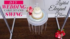 Wedding Cake Swing Yes, you read that right! This Elegant DIY wedding Cake Stand is a show stopper and it's going to look am. Bling Wedding Cakes, Bling Cakes, Fall Wedding Cakes, Wedding Cake Stands, Elegant Wedding Cakes, Wedding Cake Toppers, Tree Wedding, Suspended Wedding Cake, Make Your Own Wedding Cakes