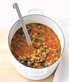 Healthy Lentil Soup: I added chicken bullion (2-4 tsp) and doubled up (could've done more) on the lentils.