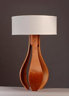 Simple elegance Chloe in cherry with white shade: Kyle Dallman: Wood Table Lamp - Artful Home Table Lamp Wood, Wood Lamps, Glass Table, Table Lamps, Country Wood Signs, Rustic Wood Signs, Steam Bending Wood, Modern Leather Sofa, Woodworking Projects Diy