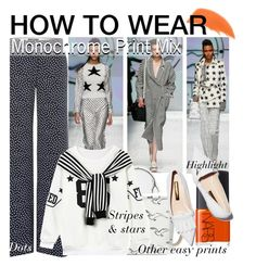 """""""How to Wear: Monochrome Print Mix"""" by asya-1 ❤ liked on Polyvore featuring MaxMara, Chicnova Fashion, By Terry, NARS Cosmetics and Rupert Sanderson"""