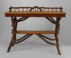 American Rustic Adirondack serving table of twig & root construction with galler