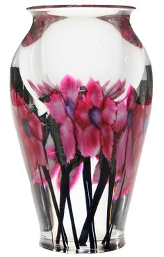 "Lotton (David), Vase, Clematis, 10 inch"" - (Thanks to pinner fazmax, who previously had pinned this to my group board called LovelyGlass I. Cristal Art, Painted Glass Vases, Crystal Glassware, Bottle Vase, Glass Paperweights, Glass Design, Hand Blown Glass, Flower Art, Sculpture Art"