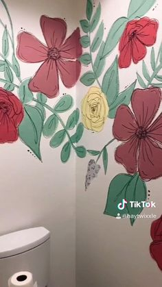Wall Painting Decor, Mural Wall Art, Painting Murals On Walls, Painted Wall Murals, Wall Painting Flowers, Simple Wall Paintings, Creative Wall Painting, Hand Painted Walls, Creative Walls