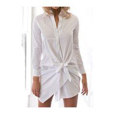 Rotita Button Design Turndown Collar White Dress (39 BAM) ❤ liked on Polyvore featuring dresses, white, white day dress, white long sleeve dress, white collar dress, white dress and long sleeve print dress