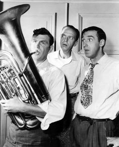 Andy Griffith, Don Knotts, and Jim Nabors on the set of the Andy Griffith Show, 1963