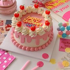 Pretty Birthday Cakes, Pretty Cakes, Beautiful Cakes, Amazing Cakes, Happy Birthday, Dessert Kawaii, Mini Cakes, Cupcake Cakes, Frog Cakes