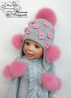 Зимние шапочки, комплекты с меховыми помпошками!! Новые работы. часть 1