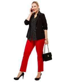 Found red pants, a black jacket and a slightly different top!  Happy thpugh''