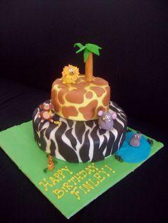 safari birthday cake giraffe zebra prints