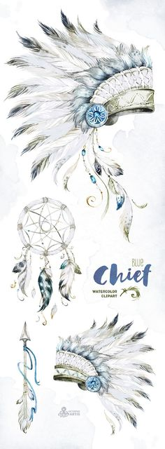 This set of high quality hand painted Native American Clipart in High Resolution. Included Feathered war bonnets, Dreamcatcher and Arrow. Perfect