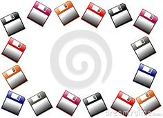 Image repesenting a set of colorful isolated floppy disks