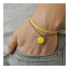 Little yellow bracelets - by Anne/Ouck, Annelison Shop Fabric Bracelets, Bead Loom Bracelets, Fabric Jewelry, Diy Jewelry, Jewelry Accessories, Fashion Accessories, Handmade Jewelry, Jewelry Making, Yellow Accessories