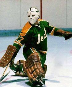 Gilles Meloche Game Used Mask - Cleveland Barons Rangers Hockey, Bruins Hockey, Hockey Goalie, Hockey Games, Hockey Players, Nhl, Goalie Mask, Vancouver Canucks, Sports Figures