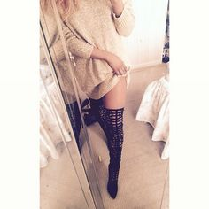 Thigh highs and a cozy sweater Pinterest: @JENNY