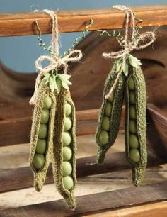 Burlap Pea Pods Whimsical souvenirs of the growing season conjure happy thoughts. Dangle on knobs or use for giftwrap and craft. decorating spring BURLAP PEA PODS (SET OF Burlap Projects, Burlap Crafts, Fabric Crafts, Diy And Crafts, Craft Projects, Sewing Projects, Arts And Crafts, Easter Crafts, Christmas Crafts