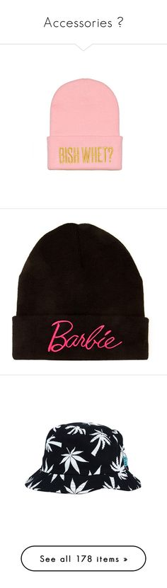 """Accessories 👑"" by dabbzin-a ❤ liked on Polyvore featuring accessories, hats, beanies, gold party hats, pink beanie, pink beanie hat, gold hats, party hats, barbie and headwear"