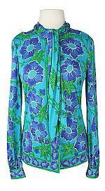 Vintage 1960s Emilio Pucci Silk Floral Jersey Neck Tie Blouse