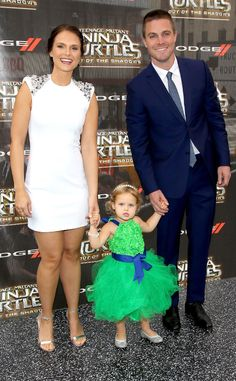 Cassandra Amell, Mavi Amell & Stephen Amell from Movie Premieres: Red Carpets and Parties!  The Arrow actor's wife and adorable daughter join him at the TMNT: Out of the Shadows premiere.