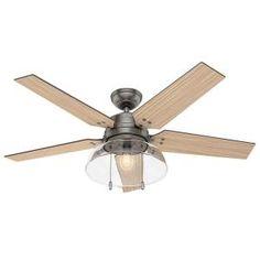 Hunter Lindbeck 52 in. LED Outdoor Brushed Slate Ceiling Fan 59209 at The Home Depot - Mobile