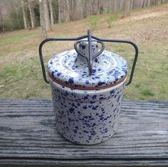 1970s Vintage Blue Spatterware Crock with Metal Bail & Clamp, Rubber Gasket, Speckled Cheese Crock, Vintage Pottery Wares, Vintage Crock by VictorianWardrobe on Etsy