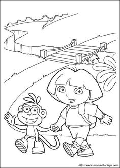 Coloring page Dora the Explorer Dora the Explorer on KidsnFun co uk On KidsnFun you will always find the best coloring pages first! is part of Dora coloring - Online Coloring Pages, Cool Coloring Pages, Disney Coloring Pages, Coloring Books, Dora Coloring, Coloring Pages For Kids, Adult Coloring, Dinosaur Coloring, Dora The Explorer
