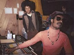 Michael Jackson and Stevie Wonder at the Motown Studios